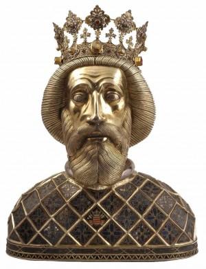 Relicario del cráneo del santo en la catedral de Gÿor (Hungría).