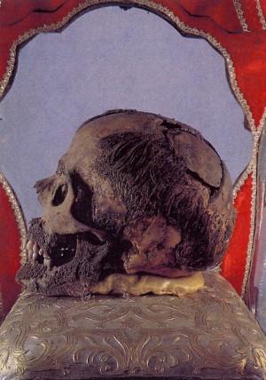 Relicario del cráneo del santo. Iglesia de San Eustorgio, Milán.
