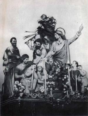 Conjunto escultórico relicario procesional de los mártires. Roccarmele, l'Aquila (Italia).