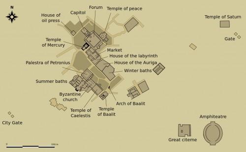 Mapa del yacimiento arqueológico de Tuburbo (Túnez). A destacar el anfiteatro, lugar del martirio de las Santas.