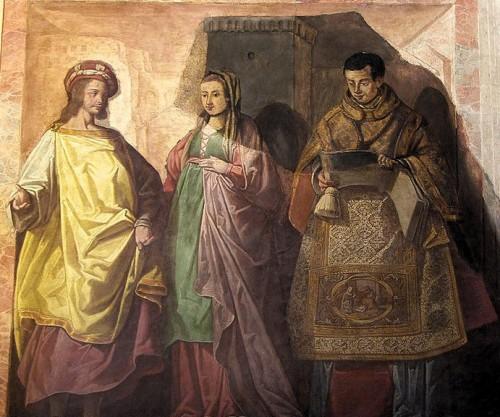 Fresco de los Santos Aurelio, Sabigoto y Jorge, obra de Cesare Arbasia. Mezquita catedral de Córdoba, España.