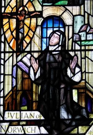 Vidriera contemporánea de la Beata en la catedral de Norwich, Inglaterra.