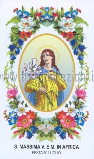 Estampa devocional italiana de Santa Máxima, virgen y mártir africana. Fuente: www.tuttocollezioni.it