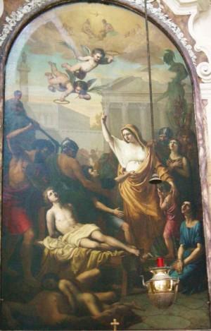 La Santa exhortando a su hijo Jenaro a resistir los azotes. Lienzo de Giorgio Berti. Iglesia de Santa Felicidad, Florencia (Italia).