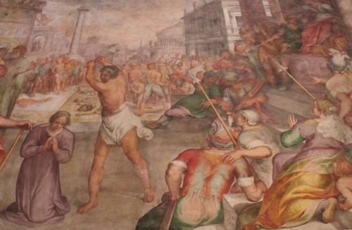 Martirio de la Santa, obra de P. Nogari (1610). Basílica de Santa Susana, Roma (Italia).