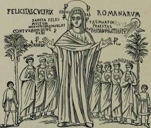 """""""Felicitas cultrix romanarum"""": grabado de la pintura del oratorio romano de la Santa, próximo al foro de Trajano."""