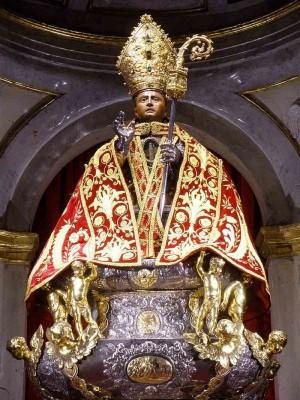 Imagen-relicario procesional que se conserva en la iglesia pamplonica de San Lorenzo.