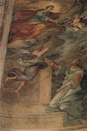 Aparición de Santa Águeda a Santa Digna, obra del pintor Patania (1684). Capilla de Santa Águeda en su catedral, Catania, Italia.