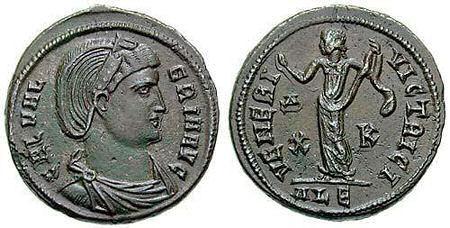 Anverso y reverso de moneda romana con la efigie de Galeria Valeria, Augusta, hija del emperador Diocleciano y de su esposa Prisca.