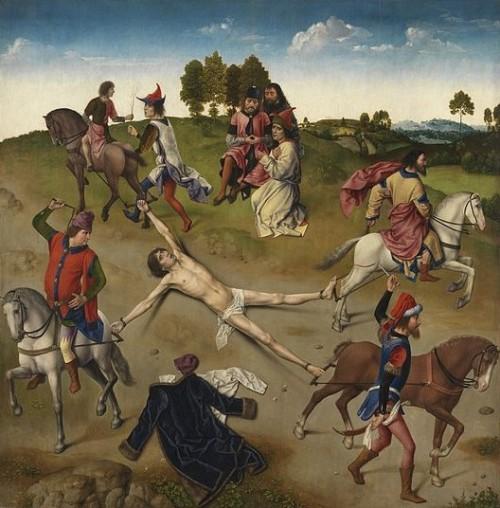 Martirio del Santo. Detalle de un tríptico de Dieric Bouts y Hugo van der Goes. Groeningemuseum de Brugge (Bélgica).