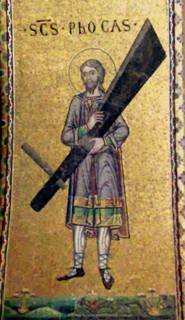 Detalle del Santo en un mosaico bizantino. Basílica de San Marcos, Venecia (Italia).