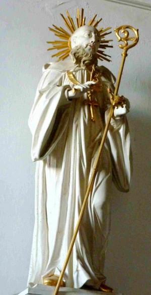 Escultura del santo en el monasterio de Thierhaupten (Alemania).