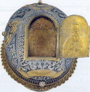 Relicario del cráneo del santo en Ítaca (Grecia).