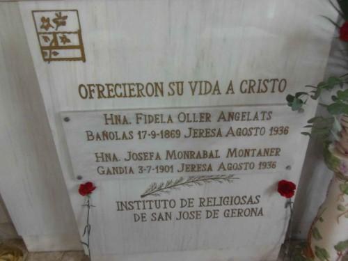 Detalle del sepulcro de las Beatas Fidela y Josefa. Gandia, España.
