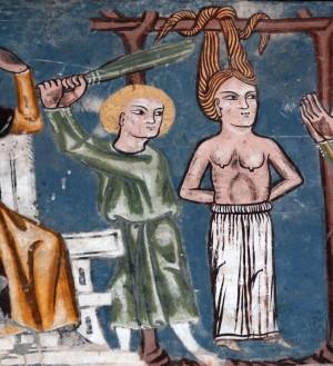 Detalle de la Santa colgada de los cabellos y azotada. Iglesia de San Jorge, Rhazüns, Suiza.