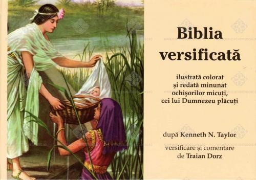 """Portada de la """"Biblia versificata"""" de Traian Dorz, con el detalle de Moisés salvado de las aguas."""