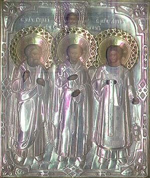 El mismo icono que encabeza el artículo, revestido en plata para su culto.