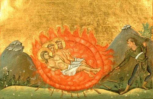 Los tres mártires asados vivos. Menologio de Basilio II (s.X). Biblioteca Apostolica Vaticana, Roma (Italia).