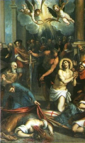 Martirio de la Santa en presencia de San Jorge. Lienzo de Giacopo Palma Il Giovane.