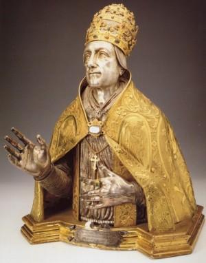 Busto-relicario del Santo en Volterra, Italia.