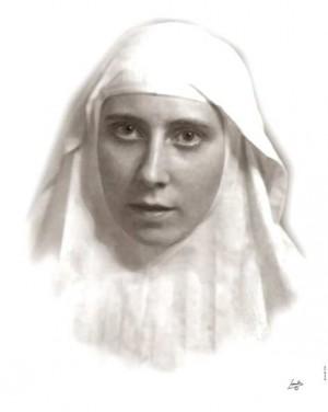 Foto de la santa siendo novicia.