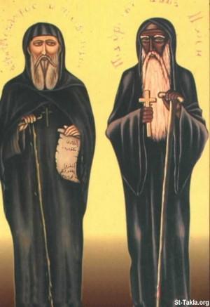 Icono de los santos Moisés e Isidoro. Monasterio al-Baramous, Egipto.