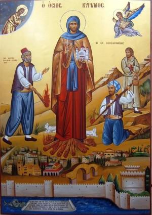 Icono ortodoxo griego con el martirio del Santo.