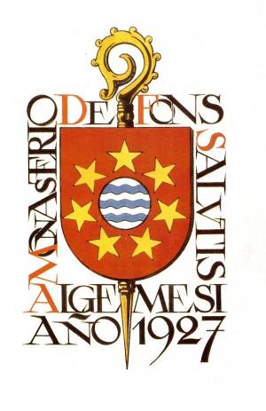 Escudo de la fundación del monasterio Fons Salutis en 1927. Algemesí, Valencia (España).