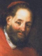 Detalle del rostro del Santo en un lienzo-retrato.