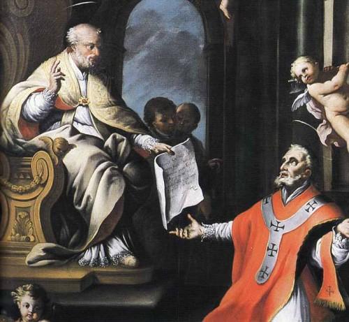 Lienzo de San Libertino de Agrigento ante San Pedro apóstol.