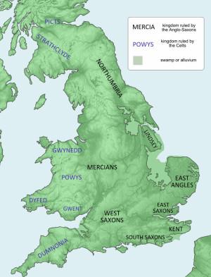 Reino anglosajones en el siglo VII.