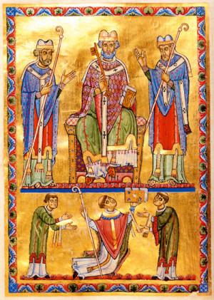 San Pedro rodeado por los Santos Virgilio y Ruperto. Iluminación del Antifonario procedente del monasterio de San Pedro, Salzburgo, Alemania.