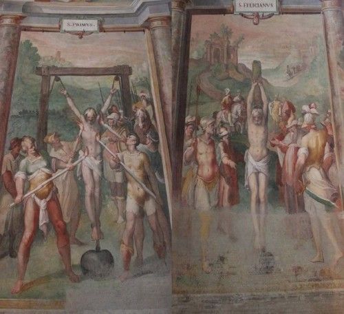 Detalle del martirio de los Santos. Iglesia de San Stefano Rotondo, Roma (Italia).