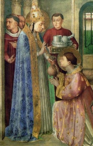 San Sixto entrega a San Lorenzo los bienes de la Iglesia. Fresco de Fra Angelico, capilla de Nicolás V, Roma.