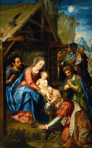 """""""La adoración de los reyes Magos"""", oleo/tela, siglo XVIII,Baltasar deEchave Orio, Museo Nacional de Artes."""