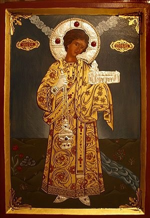 Icono ortodoxo ruso de San Esteban, diácono protomártir.