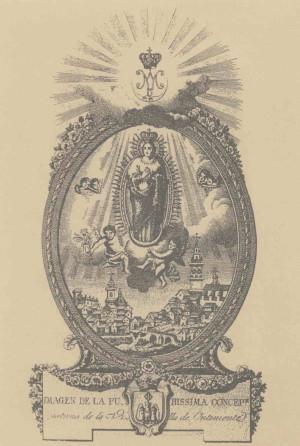 Grabado de la imagen de la Purísima venerada en Ontinyent, Valencia (España).