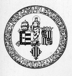 Antiguo escudo de la Universidad de Valencia con la Virgen Inmaculada.