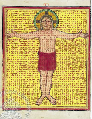 "Picto-poema mostrando a Cristo en la Cruz. ""De Laudibus sanctae crucis"", obra del Santo."