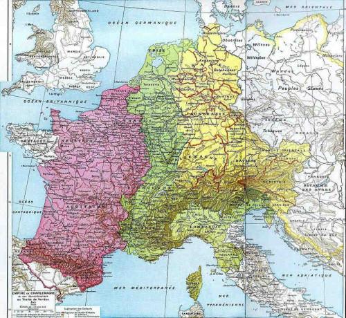 Tratado de Verdún , año 843, partición del Imperio Carolingio. El Santo fue arzobispo aproximadamente de toda la zona coloreada en amarillo.