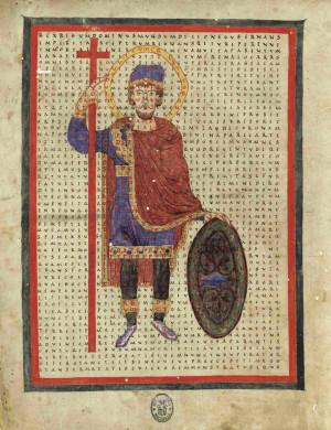 """Iluminación de la obra del Santo """"De laudibus Sanctae Crucis"""", siglo XI."""
