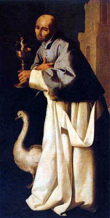 Iconografía de San Hugo: el cisne y el cáliz con el Niño. Lienzo de Francisco de Zurbarán.
