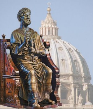 Escultura de San Pedro en su cátedra y cúpula de la Basílica Vaticana. Roma, Italia.
