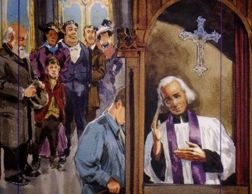 El Santo en el confesionario. Ilustración contemporánea.