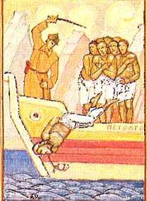 Detalle del martirio del Santo en un icono ortodoxo ruso.