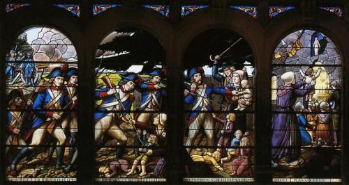 Masacre de Lucs-sur-Boulogne. Vidriera de Fournier en la capilla de Petit-Luc, La Vendée (Francia).