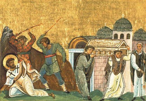 Martirio del Santo. Miniatura del Menologio de Basilio II. Biblioteca Apostolica Vaticana, Roma (Italia).