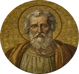 San Félix II, antipapa. Medallón en la Galería de los Papas. Basílica de San Pablo Extramuros, Roma (Italia).