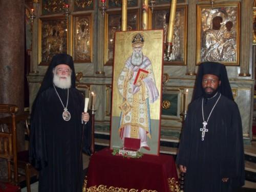 Icono y reliquias del Santo.