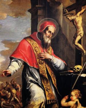 Lienzo barroco del Santo en oración.
